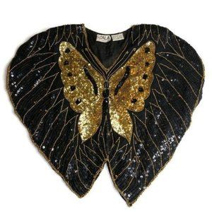 Vintage Scala Silk Butterfly Sequins Top Blouse